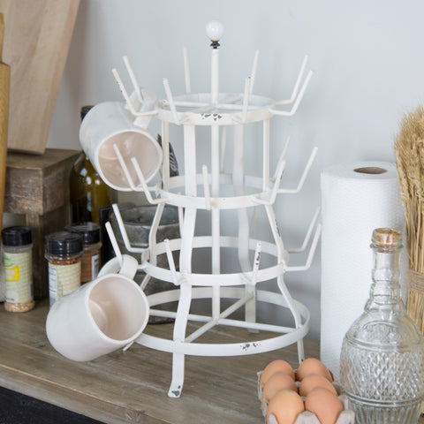 Farmhouse White Counter top Bottle Dryer 24 Arm Mug Rack