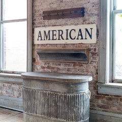 "Huge 56"" Vintage Inspired Embossed Metal AMERICAN Sign"
