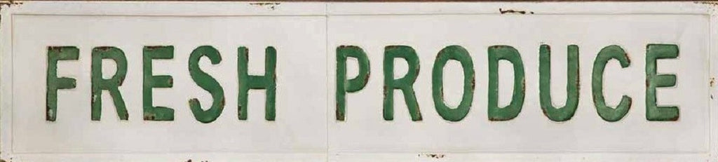 "45"" Vintage Industrial Inspired Embossed Metal FRESH PRODUCE Sign"