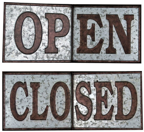 "24"" OPEN or CLOSED Galvanized Metal Flip Over Sign"