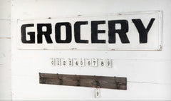 "Huge 56"" Vintage Inspired Embossed Metal GROCERY Sign"