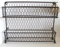 Rustic Modern French Chic Wall or Counter Iron and Wire Two-Tier Kitchen Spice Rack