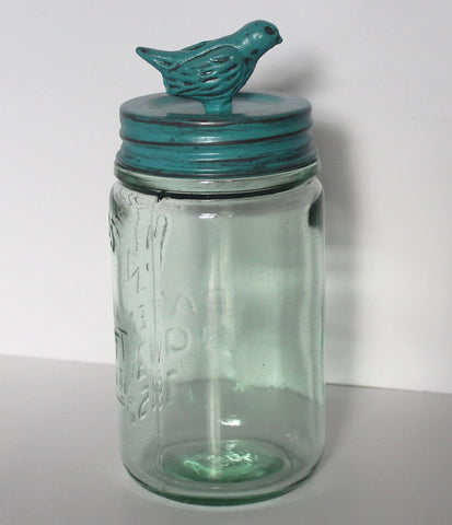 Glory & Grace Rustic French Garden Aqua Bird Collection Mason Jar Storage Canister