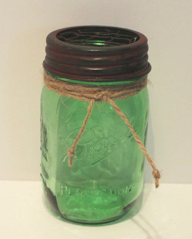 Glory & Grace Green Ball Mason Jar with Rust/Green Chicken Wire Flower Frog Lid