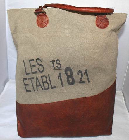 Rustic French Les Etab 1821 Natural Canvas Tote Bag, Leather Drop Handles