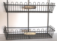 Rustic French 1, 2, 3, 4 Brass Tags Wire Bin Wall Organizer Rack