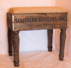 Rustic Southern Industrial Wood Bottle Crate Footstool