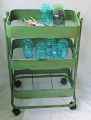 Vintage Inspired Green Iron and Metal 3-Tier Rolling Cart