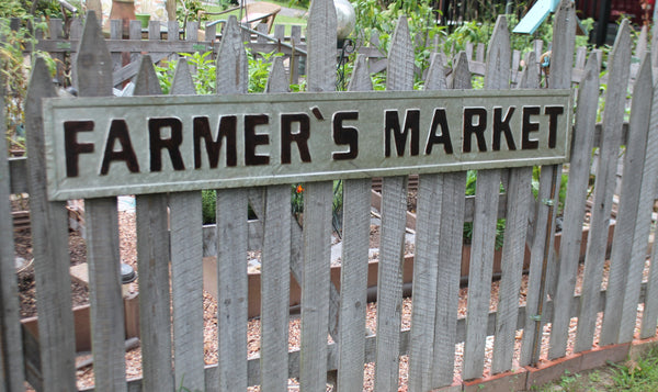 Huge 60 Quot Embossed Galvanized Metal Farmer S Market Sign