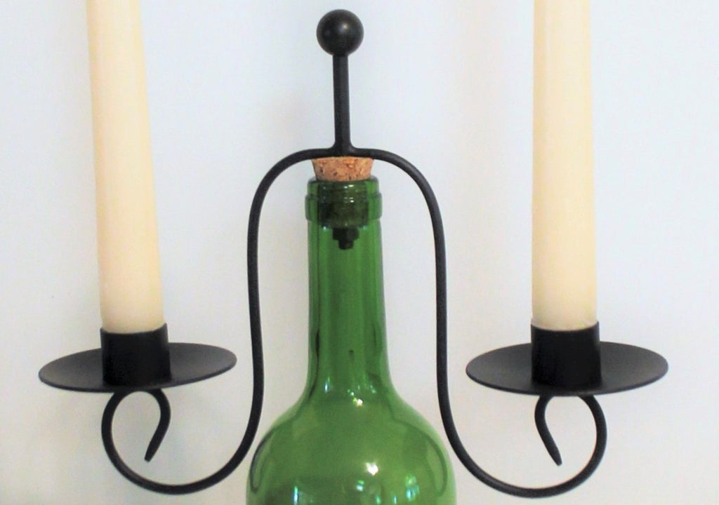 Black Metal Wine Bottle Candle Holder with Two Beeswax Candles