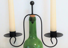 Wine Bottle Candle Holder with Two Beeswax Candles
