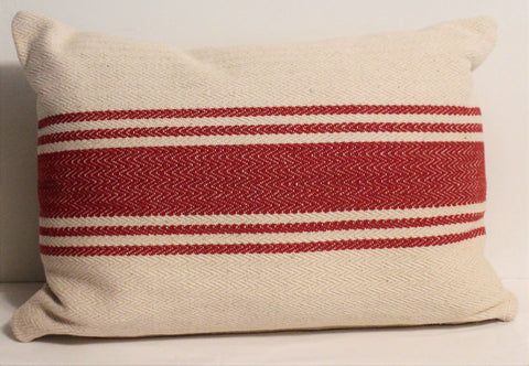 French Farmhouse Red Woven Stripe Canvas Throw Pillow