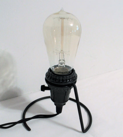 Primitive Industrial Wire Base Accent Lamp with Edison Bulb