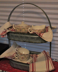galvanized oval two tier tote dark