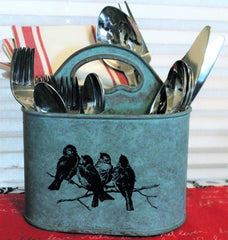 Sweet Aqua Songbirds 3-Section Flatware, Napkin Caddy