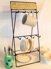 Vintage Inspired Coffee Bar Folding Mug & Cup Rack