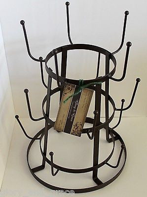 DuChamp Inspired Rustic French Iron Wine Bottle Drying Tree Glass Mug Dryer Rack
