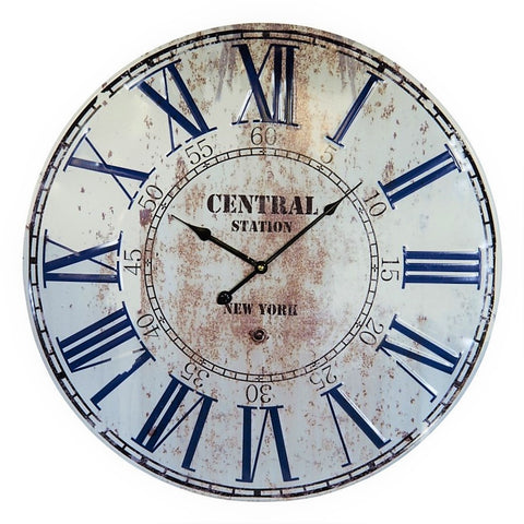 Distressed Metal Central Station Roman Numeral Wall Clock