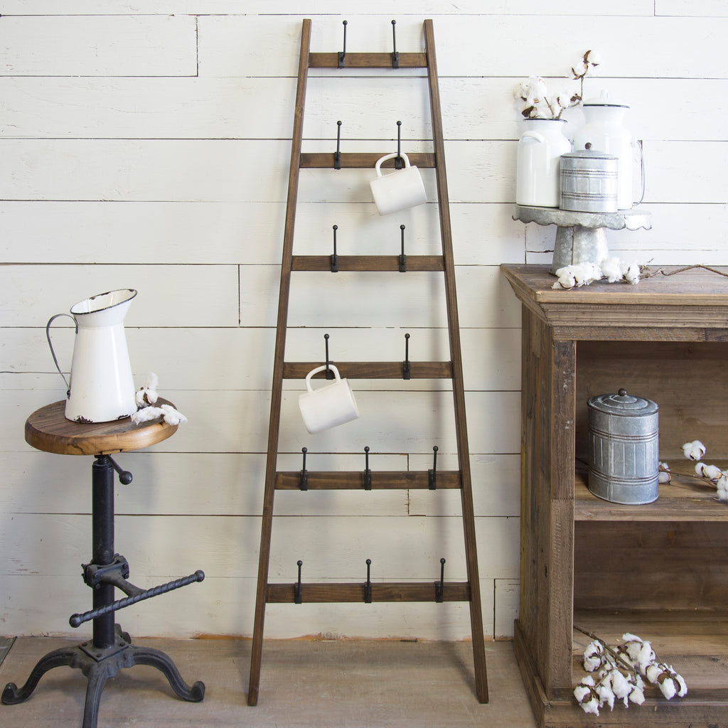 Wood & Iron Farmhouse Ladder Bottle Dryer Mug Rack