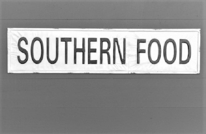 Black on White Embossed SOUTHERN FOOD Metal Sign