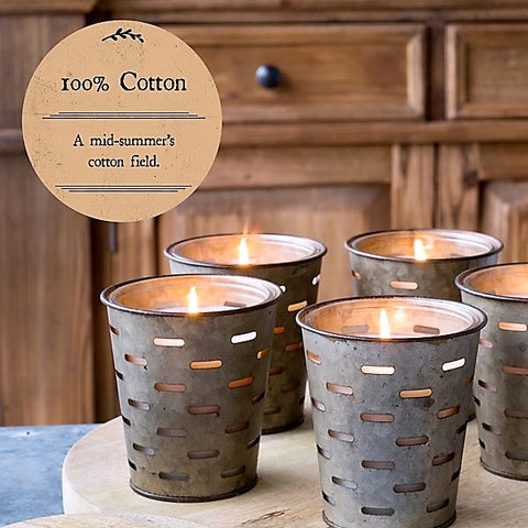 Olive Bucket Candle, 100% COTTON Fragrance