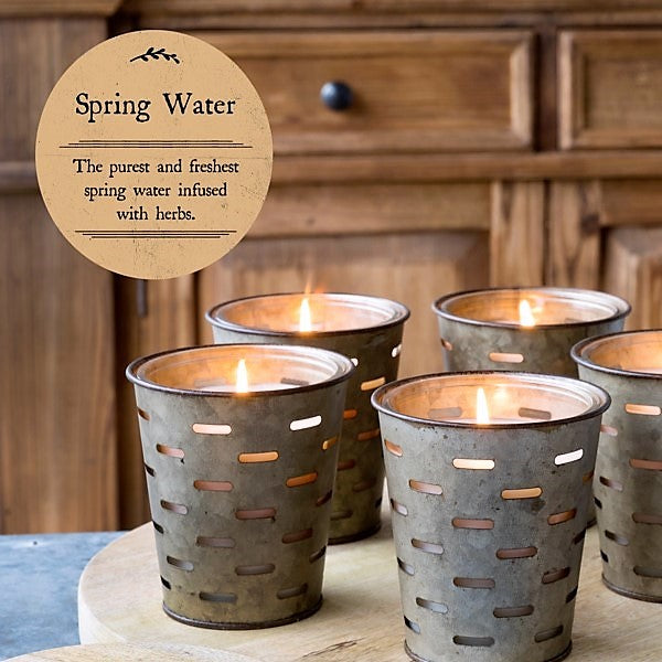 Olive Bucket Candle, SPRING WATER Fragrance