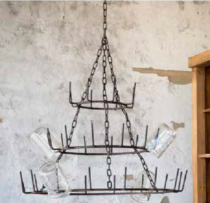 "Three Tier 22"" Hanging Rustic French Farmhouse 36 Arm Bottle Tree Glass Drying Mug Dryer Rack"
