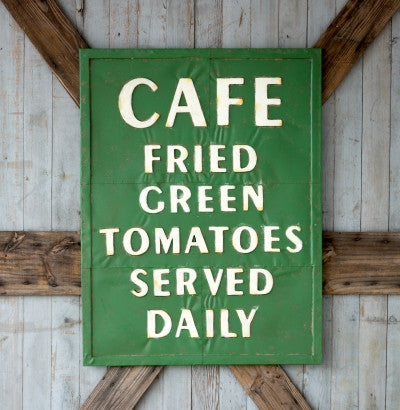 Industrial Cafe Inspired Embossed Metal FRIED GREEN TOMATOES Sign
