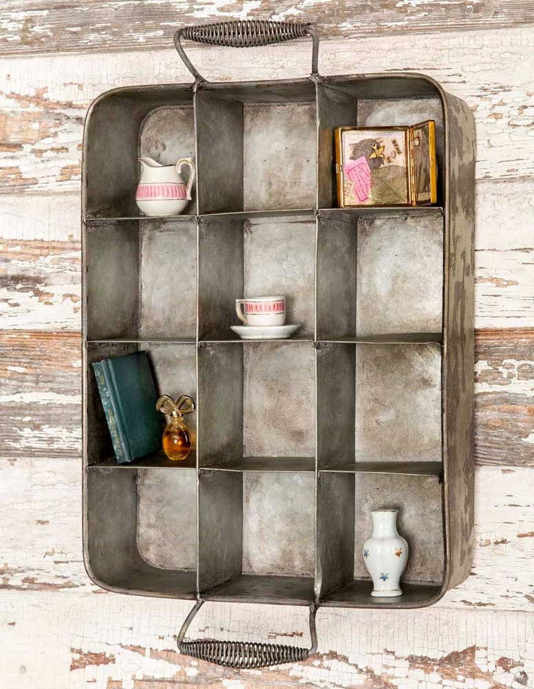 Versatility! Galvanized 12 section Seedling Tray Shadow Box Cubbie