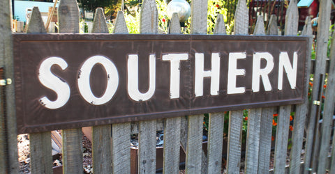"Huge 57"" Vintage Inspired Embossed Metal SOUTHERN Sign"