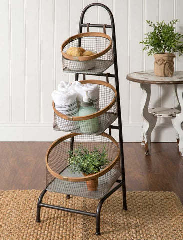 3 Tier Wire Basket Storage Floor Stand