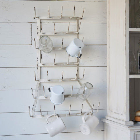 Farmhouse White Bow-Front 36 arm Bottle Dryer Mug Rack