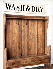 "Huge 58"" Vintage Inspired Embossed Metal WASH & DRY Laundry Room Sign"