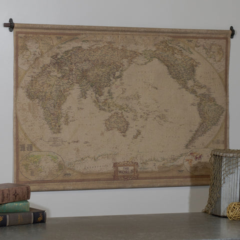 Large Cotton Canvas & Iron Bars Map of The World Wall Map