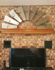 "Huge 58"" Antique Inspired Metal Half Windmill"