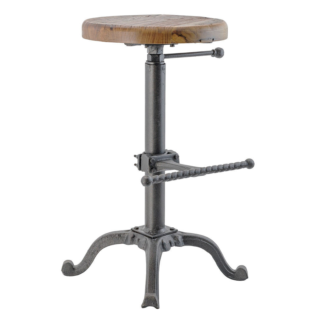 Industrial Cast Iron and Solid Wood Adjustable Counter / Bar Stool with Footrest