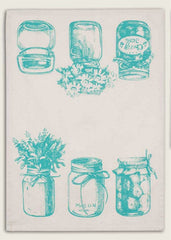 Aqua Mason Jars Feedsack Cotton Kitchen Tea Towels, Set of Two