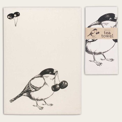 Bird & Cherries Feedsack 100% Cotton Kitchen Tea Towels, Set of Two