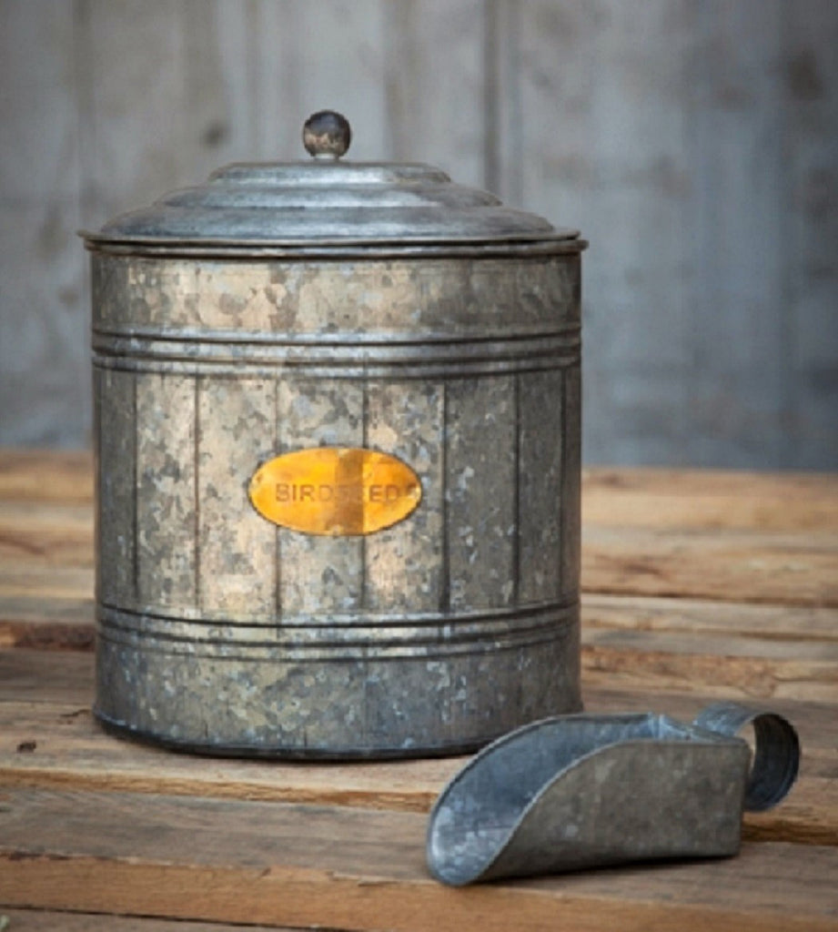 Rustic Farmhouse Galvanized Metal Bird Seed Canister with Scoop