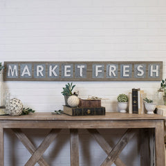 Reclaimed Wood and Metal MARKET FRESH Word Art Sign