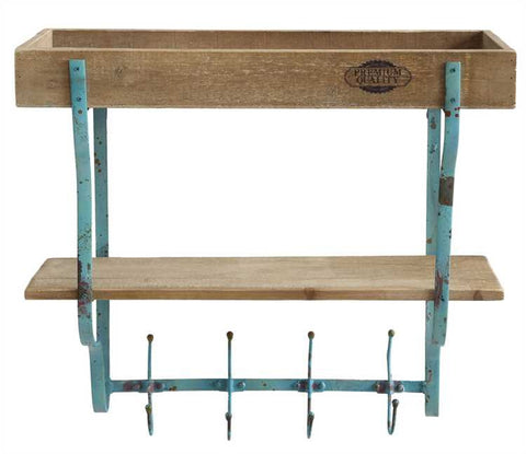 Large Aqua Iron and Wood Double Shelf w/ 4 Hooks
