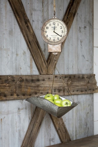 Hanging General Store Hansen Produce Scale Farmhouse Clock