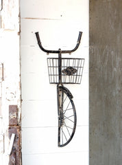 Vintage Inspired Bicycle Wall Basket Shelf
