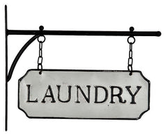 Hanging Rustic Industrial LAUNDRY Embossed Enamel Metal Sign with Bracket