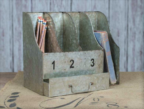 Glory & Grace Industrial Galvanized Desk Organizer