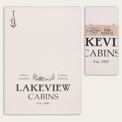 Lake Cabin Print Feedsack Cotton Kitchen Tea Towels, Set of Two