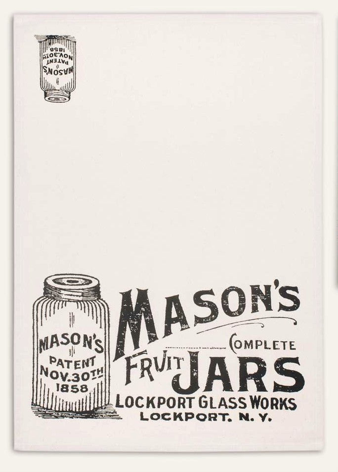 Mason Jars Print Feedsack 100% Cotton Kitchen Tea Towels, Set of Two