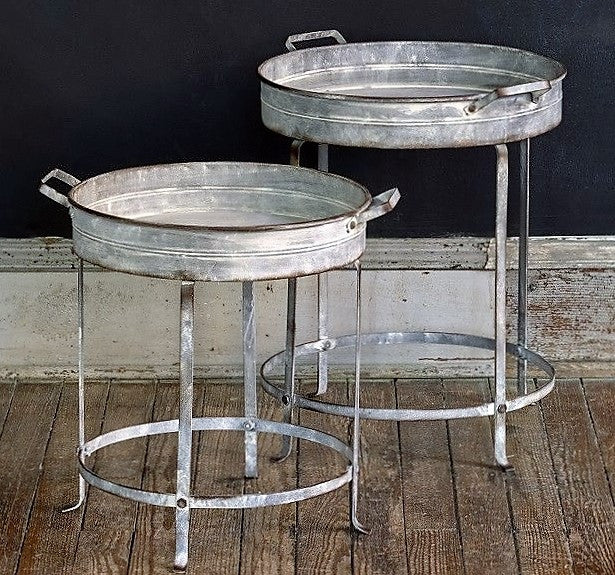 Galvanized Nesting Tray Tables, Set of Two