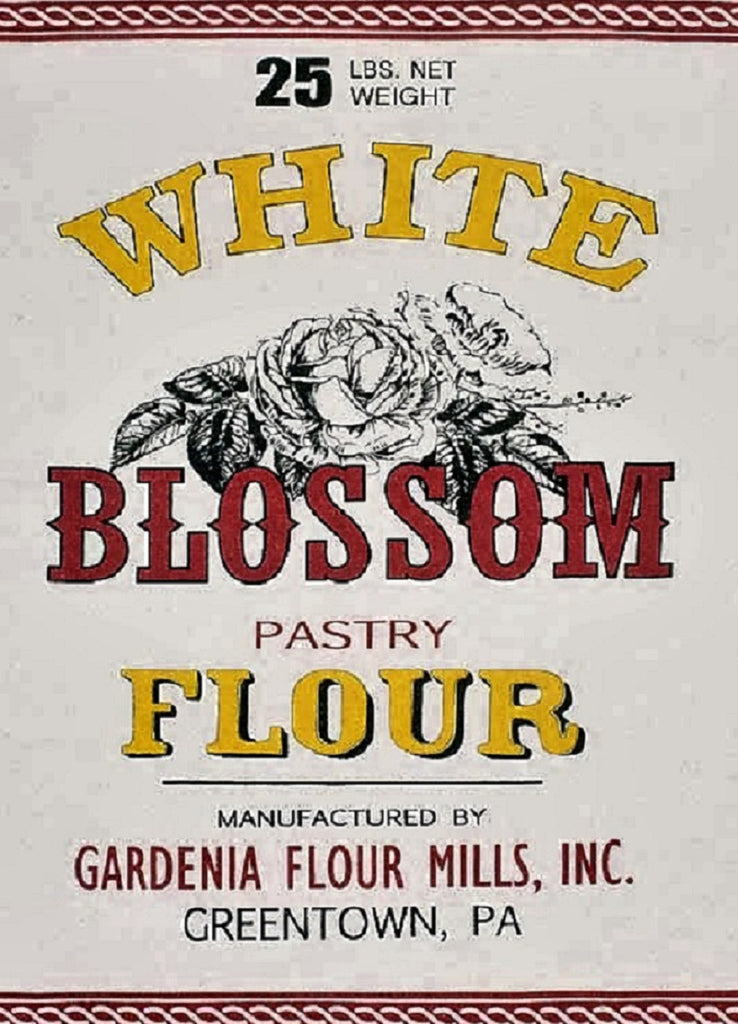 White Blossom Flour Feedsack 100% Cotton Kitchen Tea Towels, Set of Two