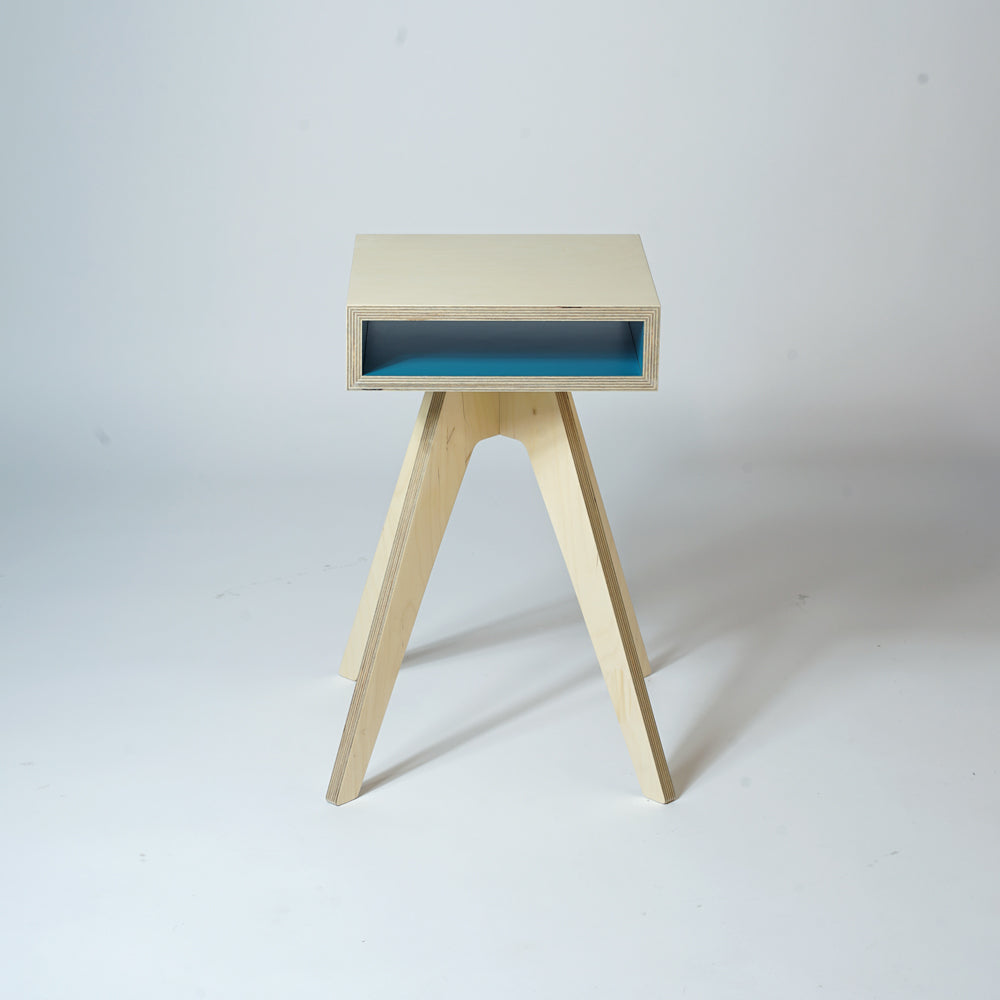 plywood console table - blue